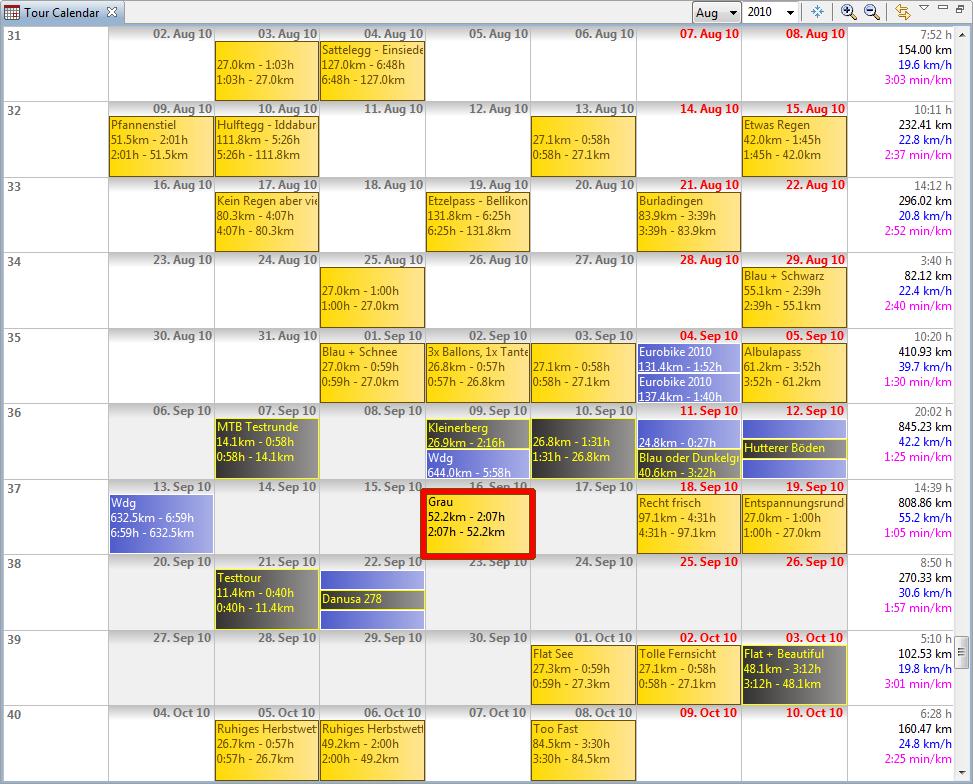 Calendar - MyTourbook